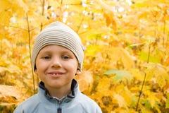 Gelukkige jongen die in herfstlandschap glimlacht Royalty-vrije Stock Foto's