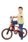 Gelukkige jongen en zijn geliefde fiets Stock Fotografie