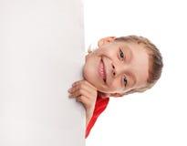 Gelukkige jongen met de lege spatie royalty-vrije stock afbeeldingen
