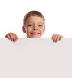 Gelukkige jongen met de lege spatie royalty-vrije stock afbeelding