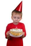 Gelukkige jongen met een cake Royalty-vrije Stock Fotografie
