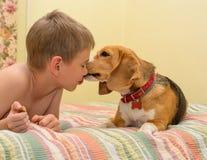 Gelukkige jongen met zijn hond die op een laag thuis liggen Stock Fotografie