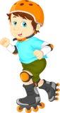 Gelukkige jongen op rolschaats Royalty-vrije Stock Afbeeldingen
