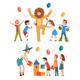 Gelukkige Jongens en Meisjes die Pret met Animator bij Verjaardag, Entertainers in Grappige Feestelijke en Kostuums hebben die pr vector illustratie