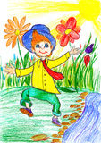 Gelukkige jongensgang op de lenteweide met bloemen - het beeld van de kindtekening op papier Stock Afbeeldingen