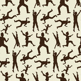Gelukkige jongenssilhouetten in naadloos patroon Stock Foto