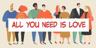 Gelukkige jongeren die een grote banner met een inschrijving op de Dag van Valentine houden vector illustratie