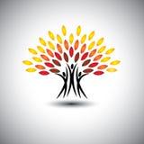Gelukkige, joyous mensen als bomen van het leven - de vector van het ecoconcept Stock Foto