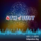 Gelukkige 4 Juli-onafhankelijkheidsdag met vuurwerk bacground Royalty-vrije Stock Foto's