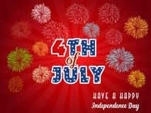 Gelukkige 4 Juli-onafhankelijkheidsdag met vuurwerk bacground Stock Afbeeldingen
