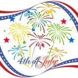 Gelukkige 4 Juli-onafhankelijkheidsdag met vuurwerk bacground Stock Foto's