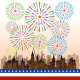 Gelukkige 4 Juli-onafhankelijkheidsdag met vuurwerk bacground Stock Fotografie