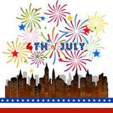 Gelukkige 4 Juli-onafhankelijkheidsdag met vuurwerk bacground Stock Foto