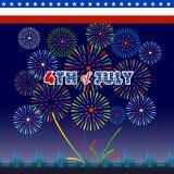 Gelukkige 4 Juli-onafhankelijkheidsdag met vuurwerk bacground Royalty-vrije Stock Afbeelding
