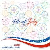 Gelukkige 4 Juli-onafhankelijkheidsdag met vuurwerk bacground Royalty-vrije Stock Fotografie