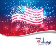 Gelukkige 4 Juli-onafhankelijkheidsdag met vuurwerkachtergrond Royalty-vrije Stock Afbeelding