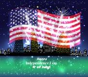 Gelukkige 4 Juli-onafhankelijkheidsdag met vuurwerkachtergrond Stock Foto