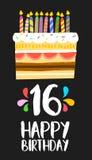 Gelukkige kaart 16 van de Verjaardagscake zestien jaarpartij Royalty-vrije Stock Foto's