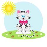 Gelukkige kat op de aard Stock Illustratie