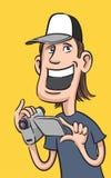 Gelukkige kerel met digitale videocamera Royalty-vrije Stock Afbeeldingen