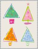 Gelukkige Kerstbomen Stock Foto's