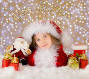 Gelukkige Kerstmisscène Stock Afbeeldingen