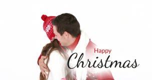 Gelukkige Kerstmistekst en romantisch paar 4k stock videobeelden