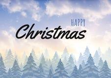 Gelukkige Kerstmistekst met de winterlandschap Royalty-vrije Stock Afbeelding