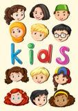 Gelukkige kinderen die gezichten glimlachen Stock Afbeeldingen