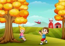 Gelukkige kinderen die op landbouwbedrijfachtergrond spelen stock illustratie