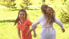 Gelukkige kinderen die in openlucht in de zomerpark spelen Langzame Motie stock video