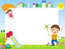 Gelukkige kinderen en banner Stock Foto's