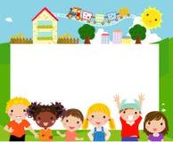 Gelukkige kinderen en banner Stock Afbeelding