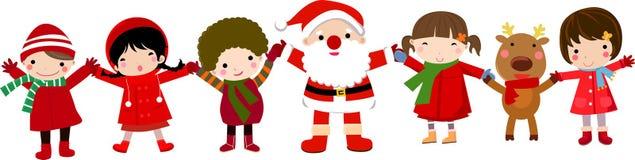 Gelukkige kinderen en santa Stock Afbeeldingen