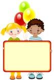Gelukkige kinderen met ballons. Stock Foto