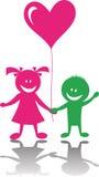 Gelukkige kinderen met hart Stock Foto