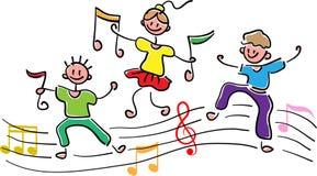 Gelukkige kinderen met muzieknoten royalty-vrije illustratie