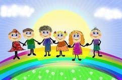 Gelukkige kinderen met regenboog Royalty-vrije Stock Afbeelding