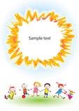 Gelukkige kinderen onder zon Stock Foto