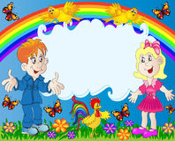 Gelukkige kinderen op achtergrond van de regenboog Royalty-vrije Stock Afbeeldingen