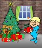 Gelukkige kinderen op Kerstmisnacht Stock Afbeelding
