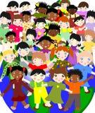 Gelukkige kinderen van verschillende rassen in de wereld, het concept stock illustratie