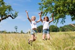Gelukkige kinderen in weide het springen Stock Afbeeldingen