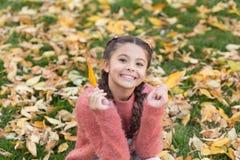 Gelukkige kinderjaren De tijd van de school Gelukkig meisje in bladeren en aard van de de herfst de de bosherfst Klein kind met d stock fotografie
