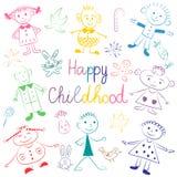 Gelukkige kinderjaren Kleurrijke Leuke Jonge geitjes met Speelgoed, Sterren en Suikergoed Grappige kinderentekeningen De stijl va Royalty-vrije Stock Afbeeldingen