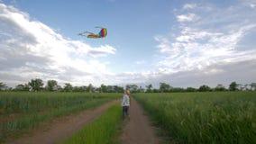 Gelukkige kinderjaren op aard, die weinig jongen in hoed en plaidoverhemdsspelen in werking stellen met vliegende vlieger in lang stock footage
