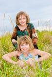 Gelukkige kleine zusters op groene weideachtergrond Royalty-vrije Stock Afbeeldingen