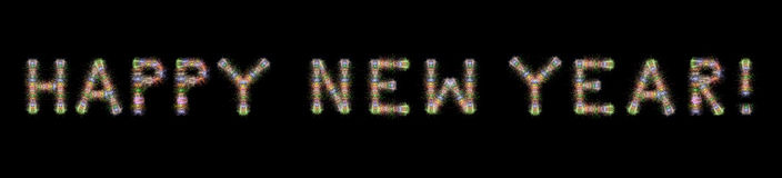 Gelukkige kleurrijke het vuurwerk horizontale zwarte backgrou van de Nieuwjaartekst royalty-vrije stock foto