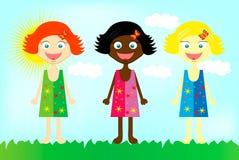 Gelukkige kleurrijke meisjes van over de hele wereld Royalty-vrije Stock Foto's