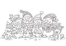 Gelukkige kleurrijke sneeuwmannen met Kerstmisornamenten, groetkaart, vectorillustratie, overzicht stock illustratie